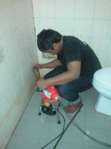 proses pekerjaan toilet mampet